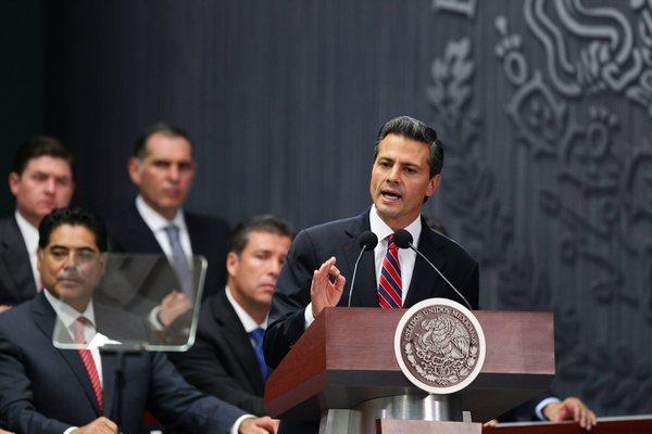 Mexican President Enrique Pena Nieto speaks on fiscal reform at the presidential residence in Mexico City.