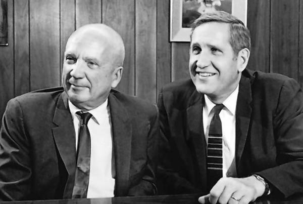 This 1970 photo provided by the Los Alamos National Laboratory shows Norris Bradbury, left, and Harold Agnew, right, the second and third directors of the Los Alamos National Laboratory.