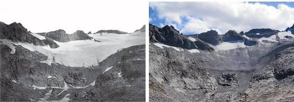 The photo on the left of Lyell Glacier in Yosemite National Park was taken by the U.S. Geological Survey in 1883; the one on the right was taken by park geologist Greg Stock in late September.