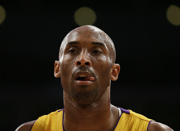 Lakers guard Kobe Bryant before he was injured in a game last season against the Golden State Warriors at Staples Center.
