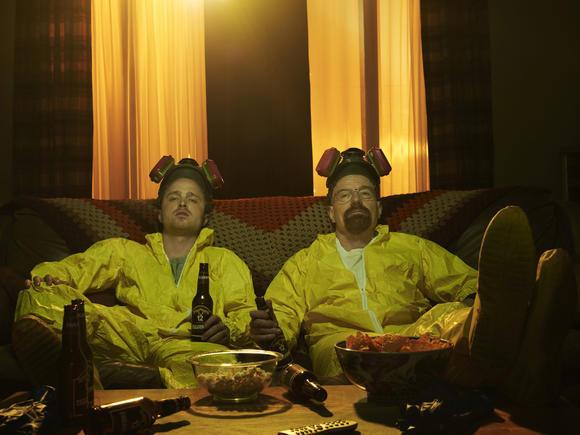 "Aaron Paul and Bryan Cranston in ""Breaking Bad."""