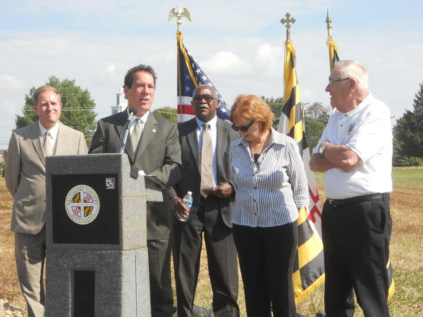 From left, County Councilman David Marks, County Executive Kevin Kamenetz, county Department of Recreation and Parks Director Barry Williams, State Sen. Kathy Klausmeier and Jerry Soukup, one of the founders of the Perry Hall Recreation Council, take part in Tuesday's ceremony starting construction at Gough Park in Perry Hall.