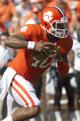 Sep 28, 2013; Clemson, SC, USA; Clemson Tigers quarterback Tajh Boyd (10) carries the ball during the first quarter against the Wake Forest Demon Deacons at Clemson Memorial Stadium. Mandatory Credit: Joshua S. Kelly-USA TODAY Sports