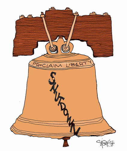 Shutdown bell ( Signe Wilkinson/Philadelphia Daily News / October 2, 2013 )