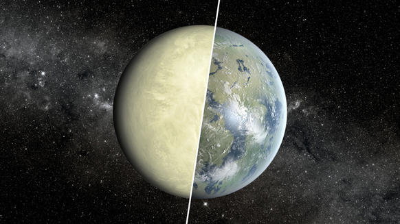 An artist's concept shows a Super Venus planet on the left and a Super Earth on the right. Researchers use a concept known as the habitable zone to distinguish between these two types of planets, which exist beyond our solar system.