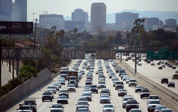 Motorists on the 10 Freeway in downtown Los Angeles