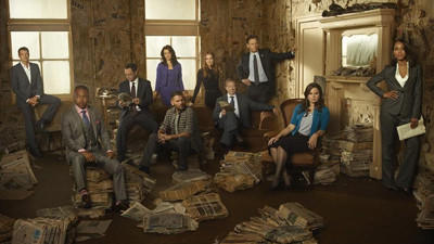 "ABC's ""Scandal"" stars Scott Foley (from left), Columbus Short, Joshua Malina, Bellamy Young, Guillermo Diaz, Darby Stanchfield, Jeff Perry, Tony Goldwyn, Katie Lowes and Kerry Washington."
