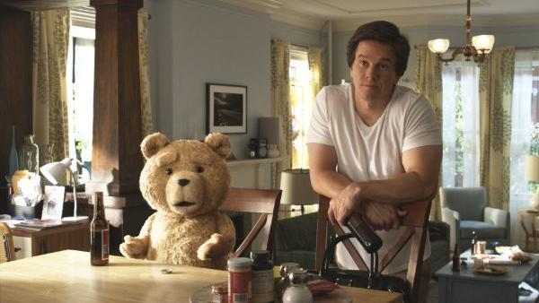 """Mark Wahlberg stars with the foul-mouthed teddy bear in a scene from last year's """"Ted."""""""