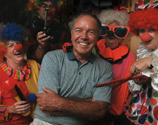 "Pictured surrounded by clowns rehearsing for the 2001 Park Road Parade is Richard Patrissi, known as the ""Mayor of Park Road."" Patrissi died in March at age 76, and this year's is the first Park Road Parade without him."