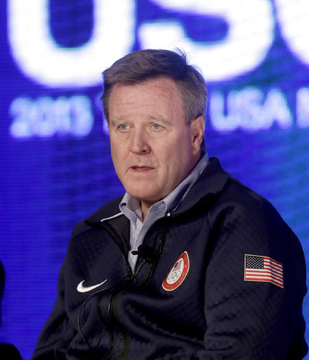 Scott Blackmun, chief executive of the U.S. Olympic Committee, speaks with reporters.