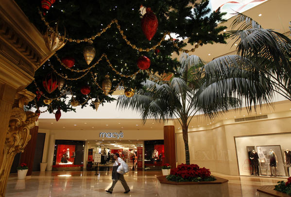 The Macy's department store at South Coast Plaza in Costa Mesa is decorated for the Christmas season.