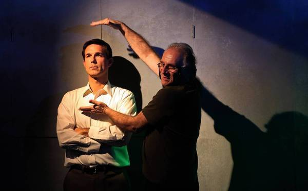"Director Simon Levy, right, works with actor Jeff Witzke during a rehearsal of ""The Normal Heart,"" at the Fountain Theater in Hollywood."