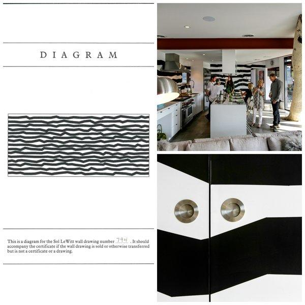 Clockwise, from left: The Sol LeWitt estate provided a diagram of how the artwork should be executed. Homeowner Jack Latner then hired artist Kat Poteet to execute the design in Latner's remodeled kitchen. A detail photo shows the angular lines crossing cabinet doors.