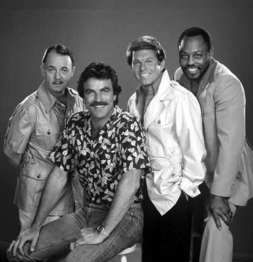 "John Hillerman, left, Tom Selleck, Larry Manetti, Roger E. Mosley in CBS' 1980s hit ""Magnum, P.I."""