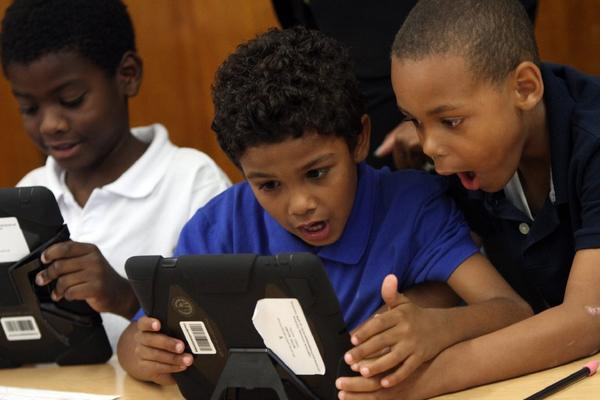 Students at Broadacres Elementary School in Carson enjoy exploring the offerings on their new iPads.