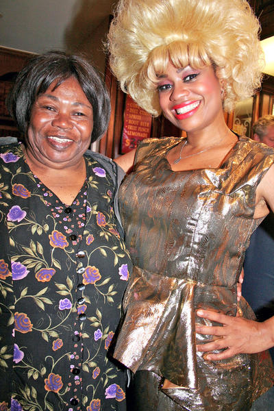 "At the Glendale Centre Theatre, from left, recent Glendale resident Cecelia Walker gets chummy with ""Hairspray"" star Regan Carrington."