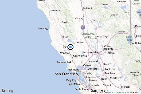 A map showing the location of the epicenter of Wednesday afternoon's quake near Cobb, California.