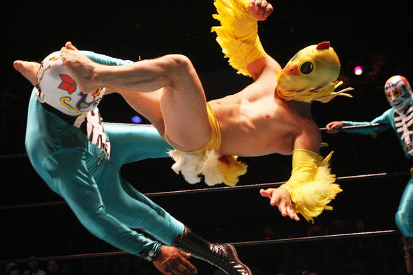 A lucha libre battle between Lil Chicken and Los Cavaleras at Lucha VaVOOM in Los Angeles. The Lucha Libro literary event in Peru is based on such matches. Writers don masks but trade physicality for linguistic feats.
