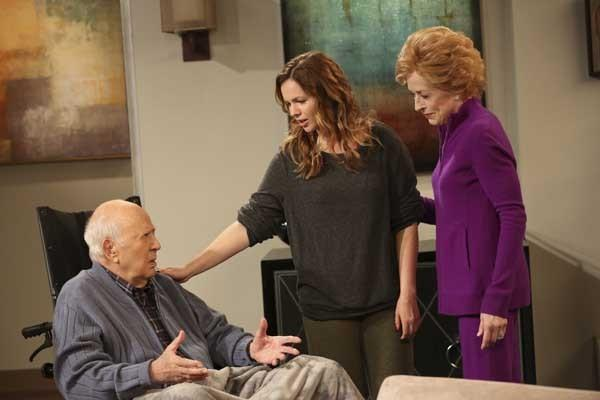 "Carl Reiner, left, Holland Taylor and Amber Tamblyn in ""Two and a Half Men"" on CBS."