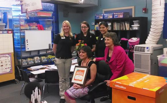 OfficeMax presents Rock Lake teacher with supplies