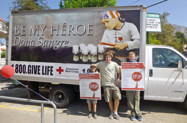 Promoting the September blood drive are Boy Scouts, from left, Zachary Pontius, event organizer Liam Huber and Noah Fesler.