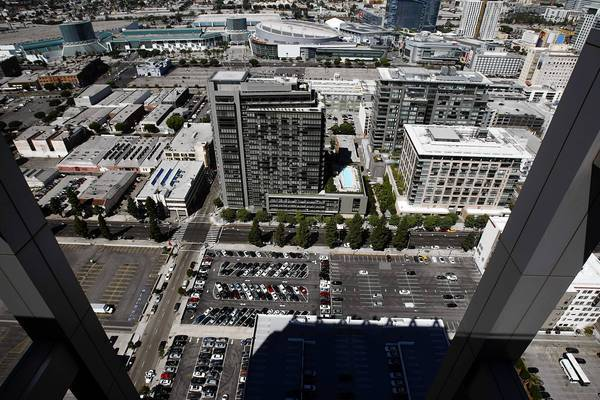 A view from AT&T Center in downtown Los Angeles shows the area, now mostly parking lots, where Mack Urban plans to develop a $750-million residential complex.