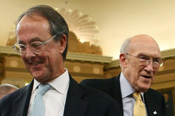 Erskine Bowles (l) and former Sen. Alan Simpson, R-Wyo., founders of Fix the Debt, in a fiscally responsible mood.
