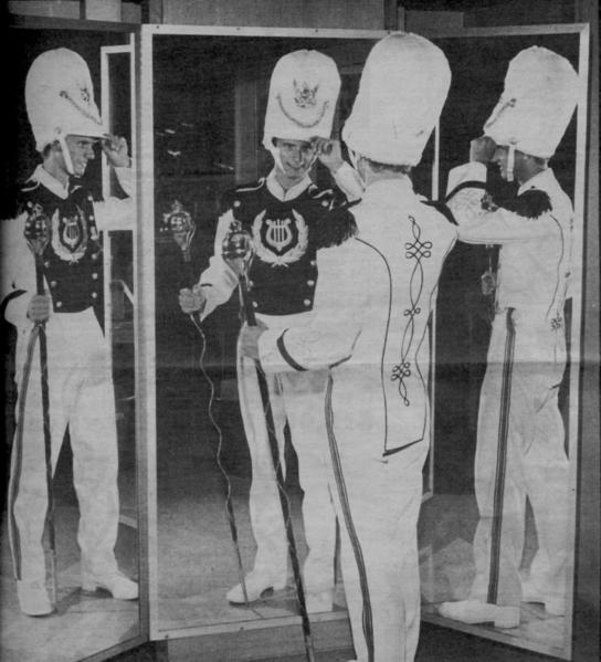 La Cañada High School senior Jon Fox in the fall of 1983 poses in his new drum major uniform, which was paid for by the La Canada Music Parents Association.