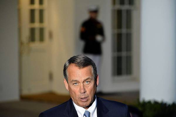 House Speaker John A. Boehner speaks to reporters after he and other congressional leaders attended a White House meeting on the budget standoff. President Obama did not make any statement afterward.