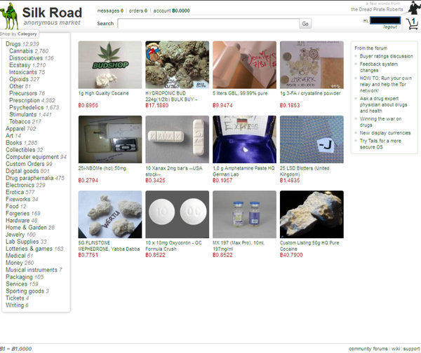 A screen of the Silk Road website provided by the U.S. Attorney's Office, Southern District of New York.