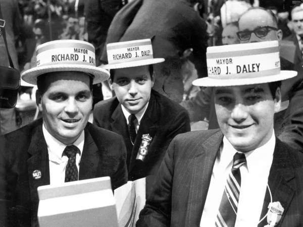 Richard M., left, Michael and Bill Daley participate in the 1968 Democratic National Convention in Chicago. Richard M. and Bill Daley chatted about growing up as Daleys for a Gary Comer Youth Center fundraiser Wednesday.