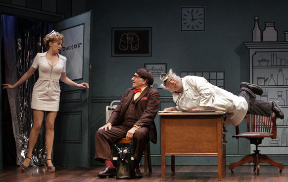 "Annie Abrams, Judd Hirsch, center; and Danny DeVito in a scene from the revival of Neil Simon's ""The Sunshine Boys"" at the Ahmanson Theatre in Los Angeles."