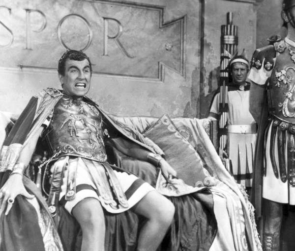 "Jay Robinson, left, as madman Caligula in 1953's ""The Robe."""