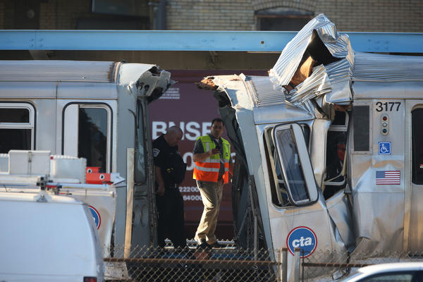 The collision of two Blue Line CTA trains is investigated.