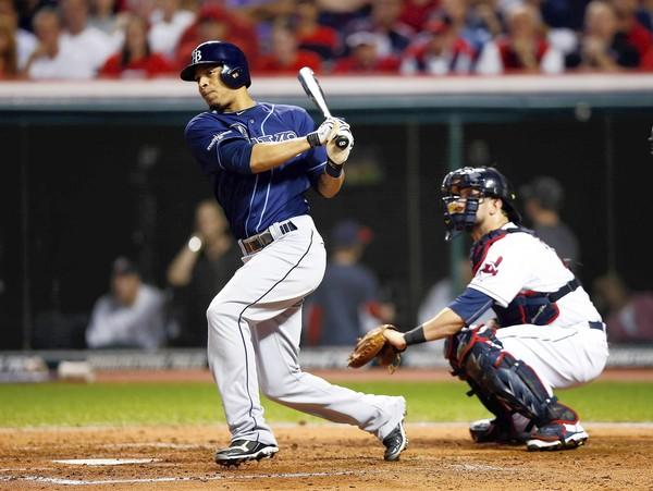 Desmond Jennings of the Tampa Bay Rays hits an hits RBI double in the fourth inning in the win over the Indians.