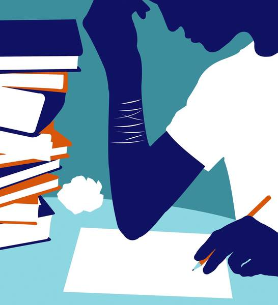 An illustration of a teenager writing a letter with cut marks on wrist.