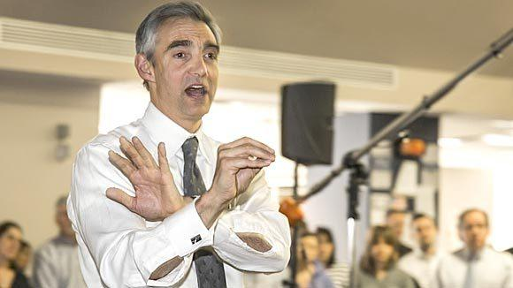 Tribune CEO Peter Liguori, addressing Chicago Tribune employees in the newsroom in 2013.