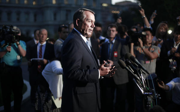 House Speaker John A. Boehner (R-Ohio) speaks to the media after meeting with President Obama at the White House on Wednesday to discuss the budget impasse. Boehner has pointed to the number of waivers granted to provisions of the Affordable Care Act as grounds to defund it.