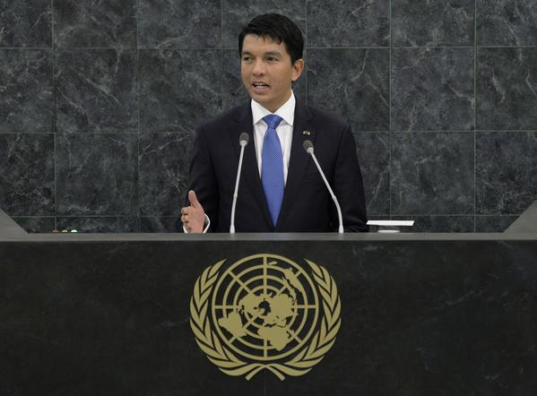 President of the Transition of the Republic of Madagascar Andry Nirina Rajoelina speaks during the 68th Session of the United Nations General Assembly on September 25, 2013 in New York City. Analysts say crime has increased in Madagascar since President Rajoelina seized power through a coup more than four years ago, plunging the country into political turmoil and leading donors to freezing aid, which dented public spending.