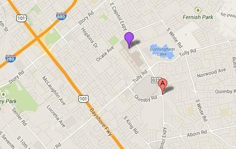 Point A on this map shows the approximate location of where a small plane landed in San Jose on Thursday morning.