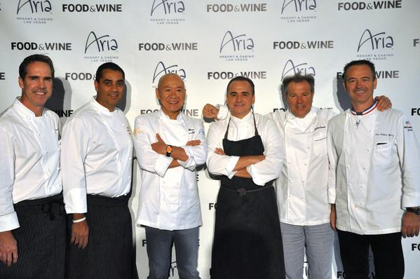 From left to right: Shawn McClain, Michael Mina, Masa Takayama, Jean-Georges Vongerichten, Julian Serrano and Jean Philippe Maury