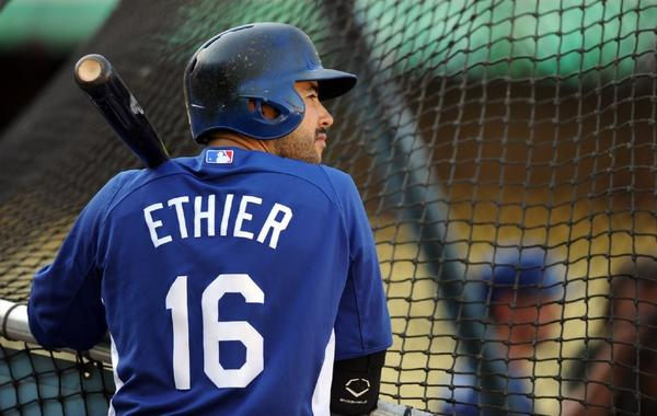Andre Ethier waits for his turn in the batting cage last month.