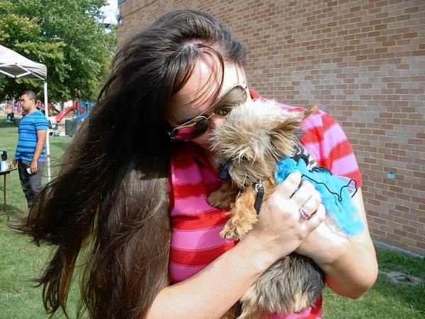 Jessica Beissmann of Mokena and her Yorkshire terrier Miss Bailey at a recent Pet-A-Palooza event in Burbank.