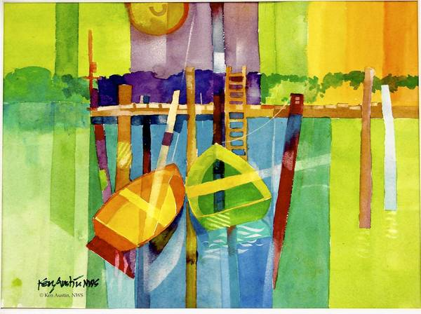 "Ken Austin will demonstrate painting with watercolors on Sunday. His ""Red Boat Green Boat"" is pictured."