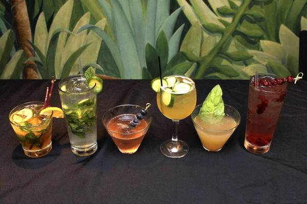 Some of the Eden Bar's signature drinks. Left to right, whiskey smash, cucumber gin mojito, berry blossom, peach cucumber sangria, pear basil martini and cranberry crush. Variety of drinks at Eden Bar at the Enzian Theater Maitland, FL.