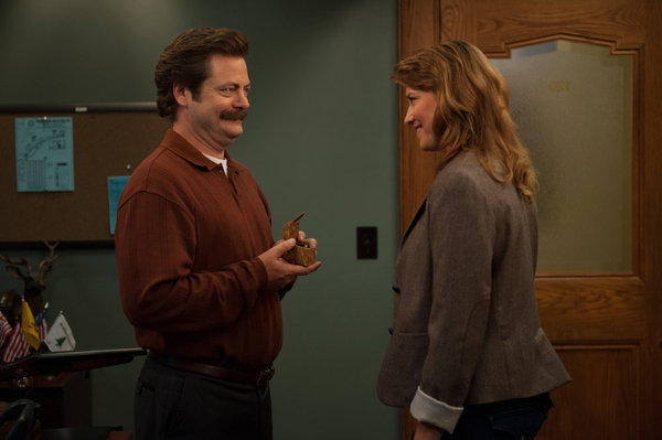 "Anti-government city employee Ron Swanson (Nick Offerman) and middle school vice principal Diane Lewis (Lucy Lawless) get even closer in last week's Season 6 premiere of ""Parks and Recreation."""