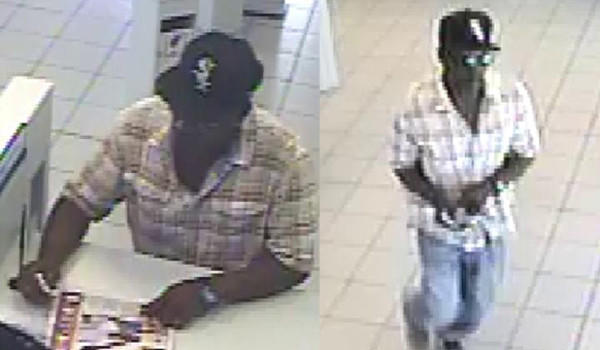 Surveillance photos of a man who robbed a Citibank branch on Wednesday.