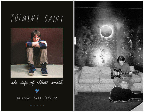 "The cover of ""Torment Saint"" and a photo of singer Elliott Smith, shown in an undated photo before a concert in L.A."