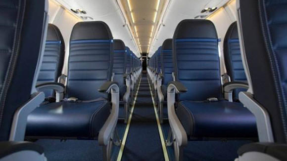 A view of the United's new seats, shown how they will be spaced in the Economy Plus section.