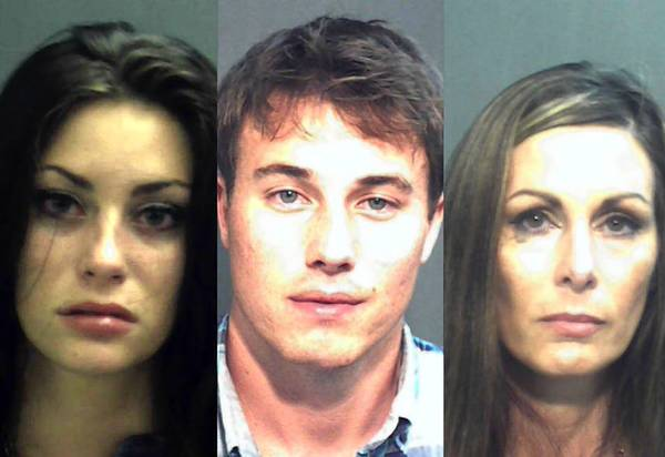 From left, Marissa Shanahan, Aaron Lyle Vogel and Wanda Grace are accused of attacking officers at Universal CityWalk.